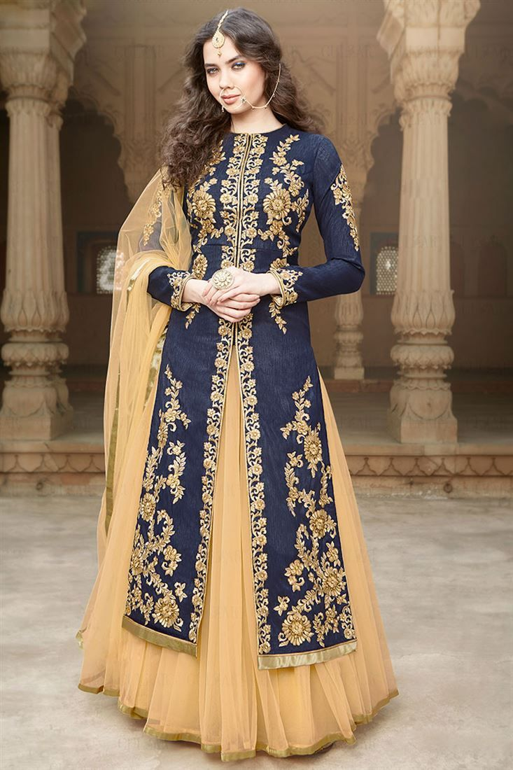 Blue-Beige Sharara Top Designer Net Lehenga Choli