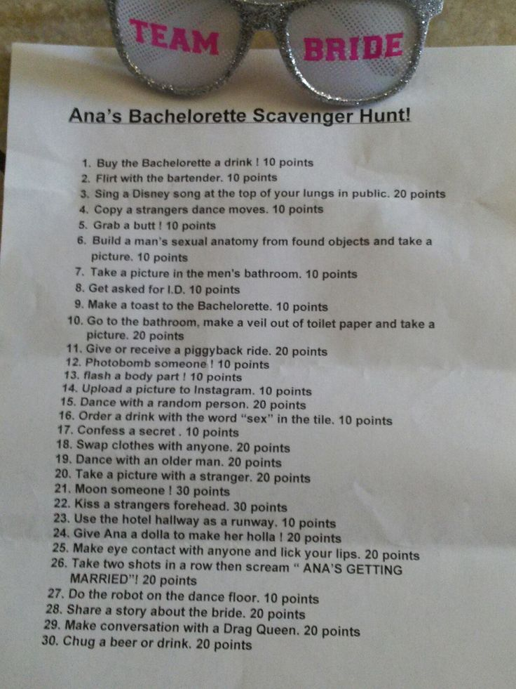 Scavenger Hunt List >> Cheap bachelorette party game idea. print out a list of fun things to do and the winner gets a ...