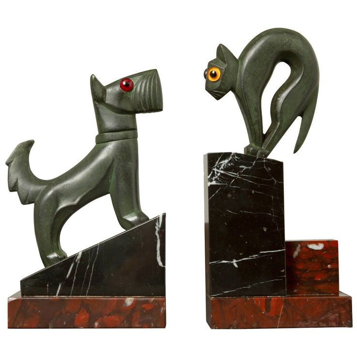 Art Deco Pair of Cat and Dog Bookends | 1stdibs.com