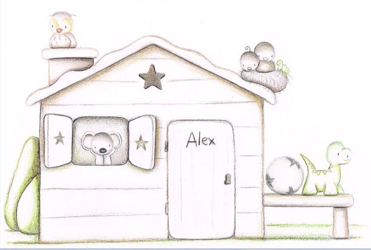 Decoración infantil Il Mondo di Alex, Papel mural efecto pintado a mano, CASITA PAJARO... personalizado con nombre o frase y a medida.