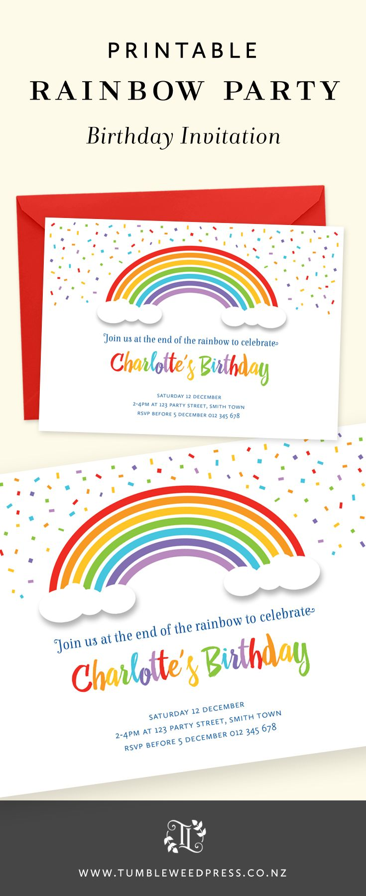 Best Rainbow Birthday Invitations Ideas On Pinterest Rainbow - Birthday invitation nz