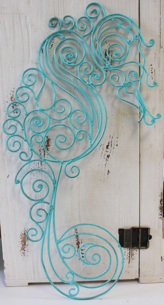 Metal Sea Horse Wall Decor - Coastal Cottage Decor - California Seashell Company