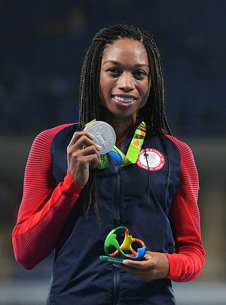 Silver medalist Allyson Felix of the United States poses during the medal…