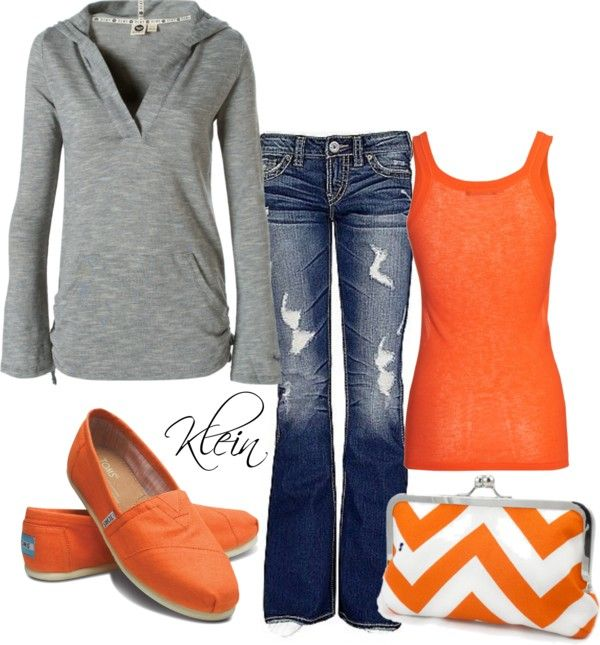 Orange and grey. Love the clutch