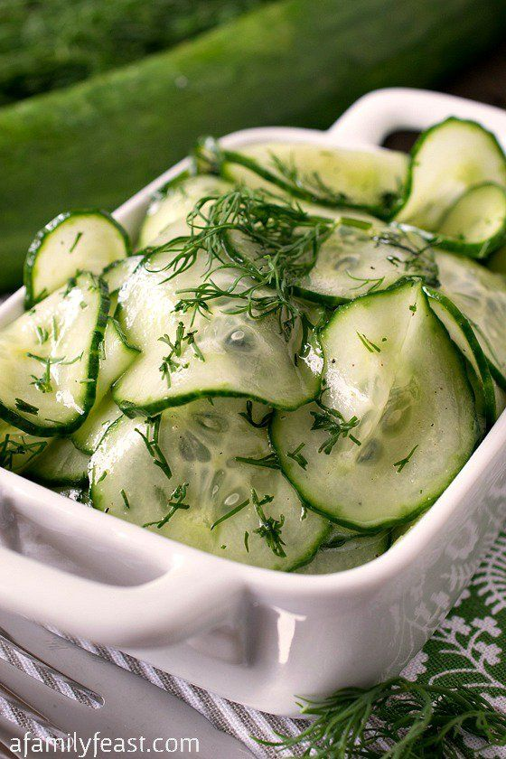Simple Cucumber Salad - http://www.afamilyfeast.com - One of the best cucumber salads - and so simple to make!