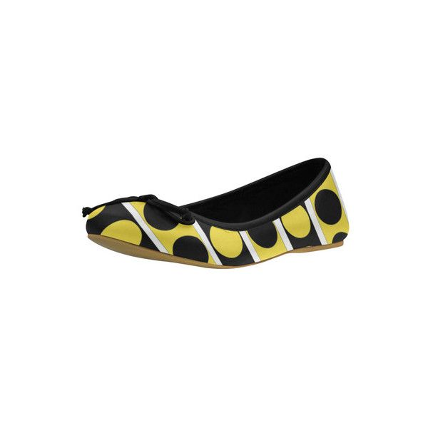 Black, white, yellow stripes and circles ballet flats by... ($43) ❤ liked on Polyvore featuring shoes, flats, ballet pumps, black ballet pumps, ballet flats, white shoes and black white shoes