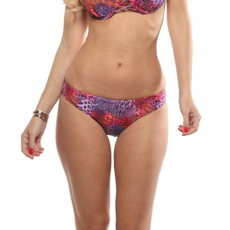 Lisa Blue Leopardo Criss Cross Bikini Bottom, Women's