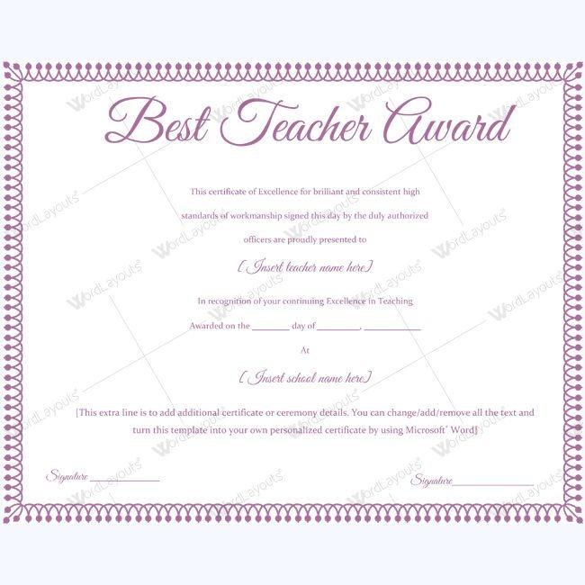 Teacher award certificate template image collections certificate teacher award certificate template gallery certificate design teacher award certificate template image collections certificate best teacher yadclub Choice Image