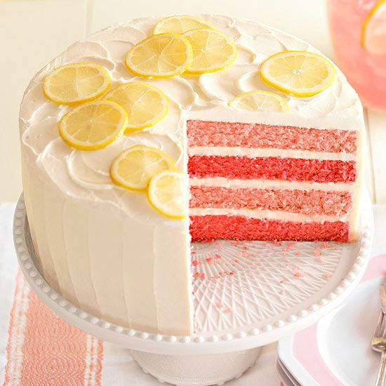 This would be a fun wedding cake! Pink Lemonade Cake