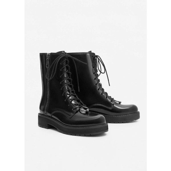 Lace-Up Patent Effect Boots (35 AUD) ❤ liked on Polyvore featuring shoes, boots, patent boots, low heel boots, metallic shoes, small heel boots and metallic boots