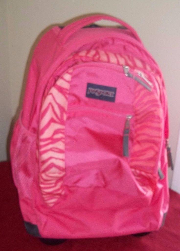 69.29$  Buy now - http://viund.justgood.pw/vig/item.php?t=656pgi37665 - JanSport Rolling Backpack Pink Zebra Stripes Laptop Sleeve 69.29$