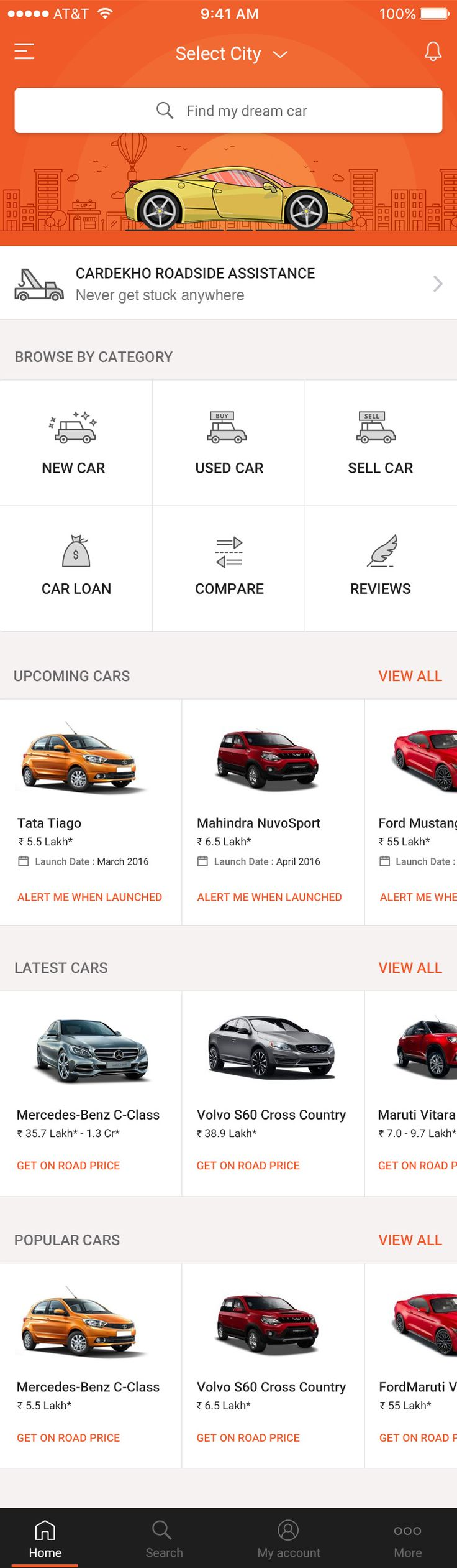 Car shopping mobile app UI design - 완전한