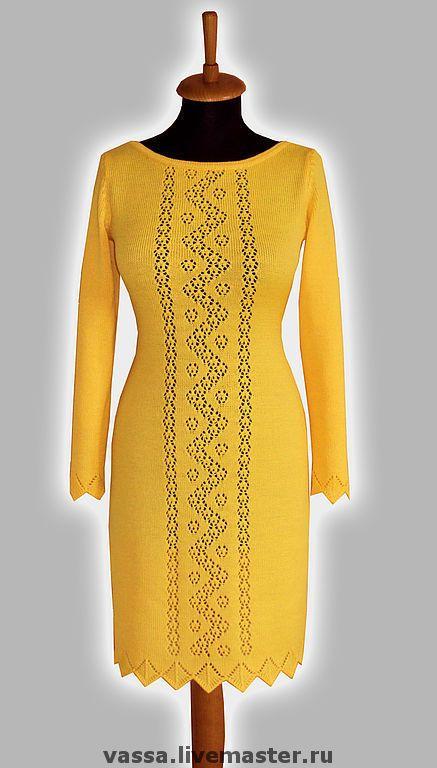 Купить Платье желтое - Машинное вязание, вязаное платье, желтый, ажурное платье, ажурный узор