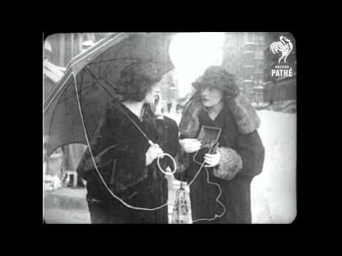 "Short, silent film from 1922 .. ""Eve's Wireless"" ~ A Mobile Phone From 1922. The use of the word ""telephone"" in 1922 didn't necessarily mean two devices that could both receive and transmit messages. Sometimes (as possibly was the case with Eve's Wireless) the telephone was used for a one-way message."