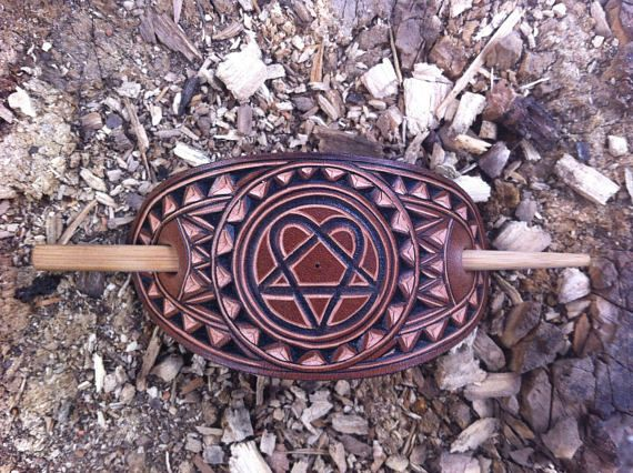 Heartagram hand carved leather hair barrette - hair accessories