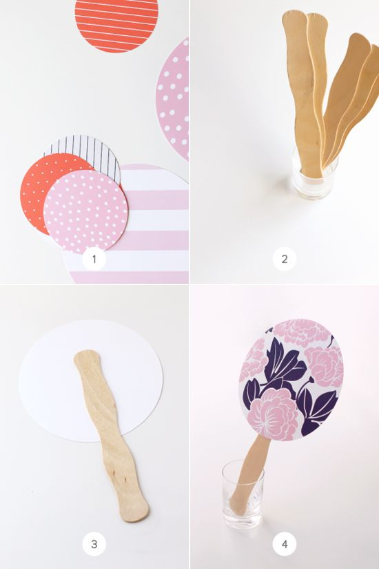 DIY hand fans. These make cute additions to summer weddings or picnics or any warm weather outdoor entertaining. They are totally customizable for any occasion.