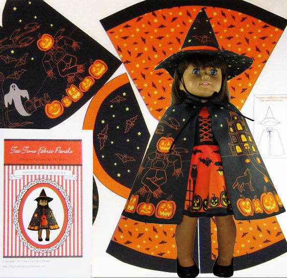 18 inch Doll Halloween Witch Cape and Hat Fabric Panel Kit, Fits American Girl Dolls, Easy Cut and Sew Doll Clothes, Printed Fabric Pattern