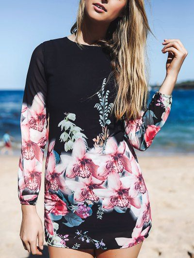 SHARE & Get it FREE | Printed Chiffon Long Sleeves Round Collar Dress - BlackFor Fashion Lovers only:80,000+ Items • New Arrivals Daily Join Zaful: Get YOUR $50 NOW!