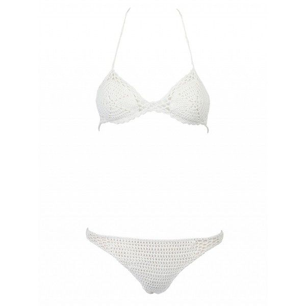 Choies White Cut Out Crochet Triangle Bikini Top And Bottom ($15) ❤ liked on Polyvore featuring swimwear, bikinis, white, white swim top, cut out bikini, white triangle bikini, cutout bikini and white swimsuit top