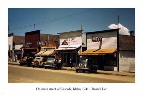 russell lee ON MAIN STREET OF CASCADE IDAHO photo poster 1941 24X36 RETRO