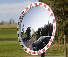 Traffic Mirror: Mirac traffic mirrors with Red-White border