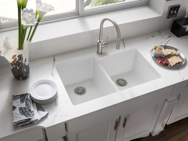 Superb Quartz Undermount Kitchen Sinks Part - 5: Gourmet Quartz Classic Double Bowl Undermount Kitchen Sink ELGU250RWH0,  Available In 5 Colors: White
