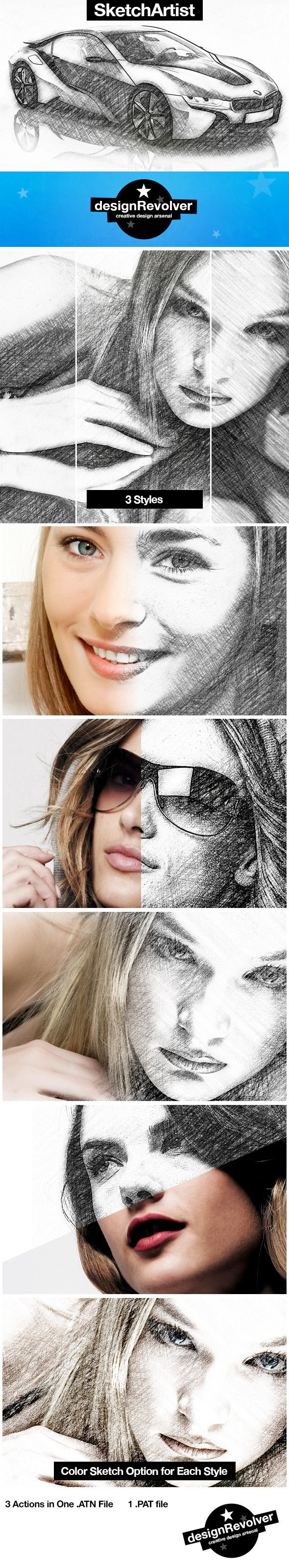 $4. Turn your photos into pencil sketches with SketchArtist actions. The pack contains 3 actions, each giving you a different sketch style. You can also have a