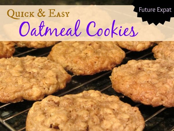 Quick & Easy Oatmeal Cookies Recipe perfect for a quick dessert or your Christmas cookie tray. #futureexpat #cookies #oatmeal