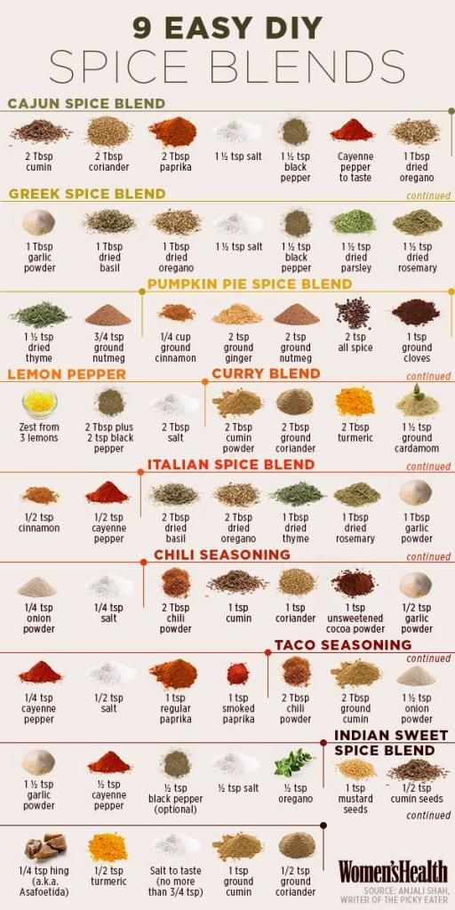 9 Homemade Spice Seasoning Blends To Flavor Food ( This way you can avoid sugar in your spice blends...make you own! )                                                                                                                                                      More