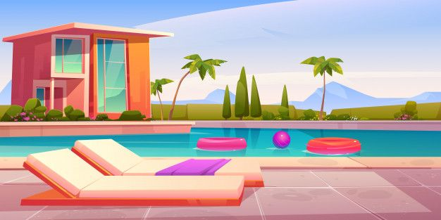 Download House And Swimming Pool With Deck Chairs For Free Anime Background Anime Scenery Wallpaper Episode Backgrounds