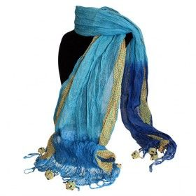 Wholesale Scarves Linen Décor - Blues Combo - Hipangels.com These transparent and very light scarves are perfect size to cover the shoulders and protects perfectly against mild coolness of evenings.  Blues Combo Scarf is the perfect colour to match that summer outfit, your customers will love it, the quality is extraordinary.  #Scarves_Wholesale #Wholesale_Scarves #Combo_Scarves