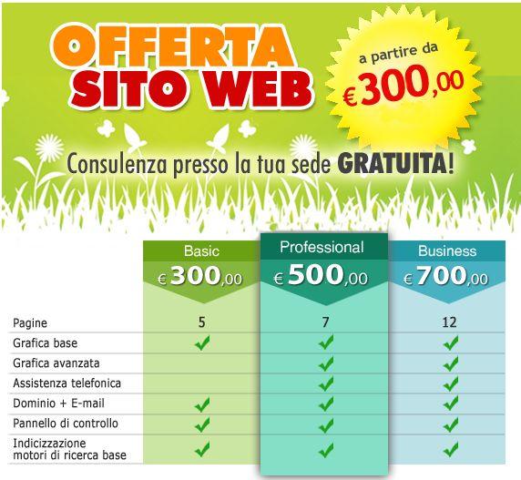 Offerte speciali siti web e ecommerce valide fino al 30 aprile 2013