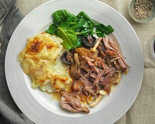 Marco Pierre White's roast shoulder of lamb with mushrooms, balsamic vinegar and potatoes dauphinoise