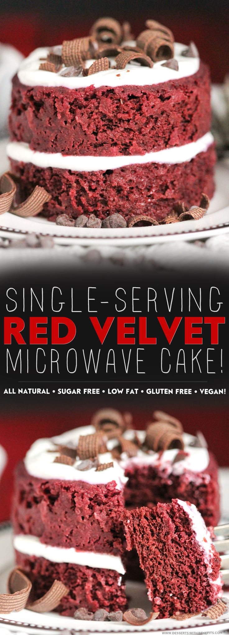 Healthy Single-Serving Red Velvet Microwave Cake -- a two-layerRed Velvet CakeALL TO YOURSELF.  Yes, please! It's soft and fluffy and moist and sweet, with the perfect hint of cocoa and vanilla, and it's secretly sugar free, low fat, high fiber, gluten free, and vegan too.