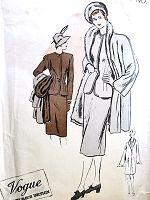 1940-ые нуара костюм и пальто шаблон VOGUE COUTURIER Дизайн 318 Тонкий Юбка Встроенная куртка Смокинг Воротник МЕХ LINED куртки пальто Бюст 32 Forties Couture Урожай выкройке