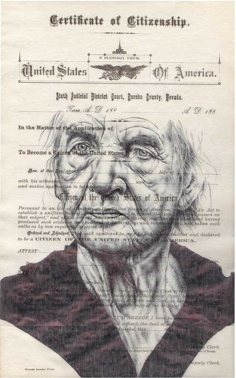 "Mark Powell; Pen and Ink, 2013, Drawing ""Bic biro drawing on US citizenship form"""