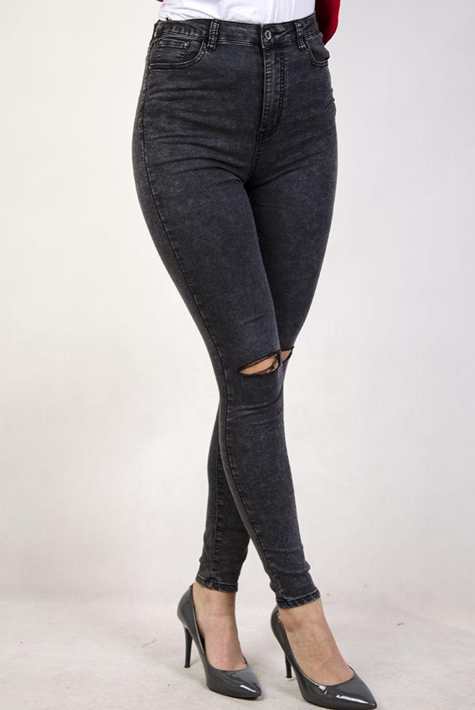 Spodnie jeansowe marmurkowe z rozcięciami