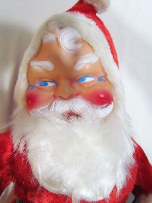 "SANTA CLAUS VINTAGE 19"" STUFFED PLUSH CHRISTMAS DOLL W/ RUBBER FACE c. 1950's"