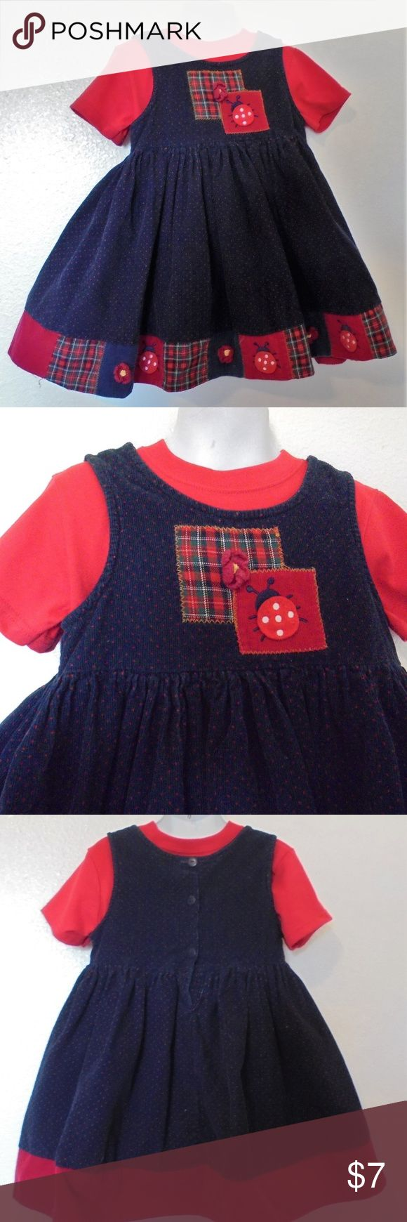 Red Polka Dot Ladybug Cord Jumper w/Top Girls Sz 4 Girls Size 4 By Samara  Gently used, good condition, no spots or stains, top is red and has tags  Jumper: By Samara, Jumper navy with tiny red polka dots, 2 patches on bodice, one plaid with crocheted flower and the other one is red with a lady bug. Rounded neckline and buttons down the back, sleeveless, corduroy jumper, the skirt is gathered and around hem line are patches with lady bugs and flowers. Cotton. Machine wash. Top/Shirt: By…