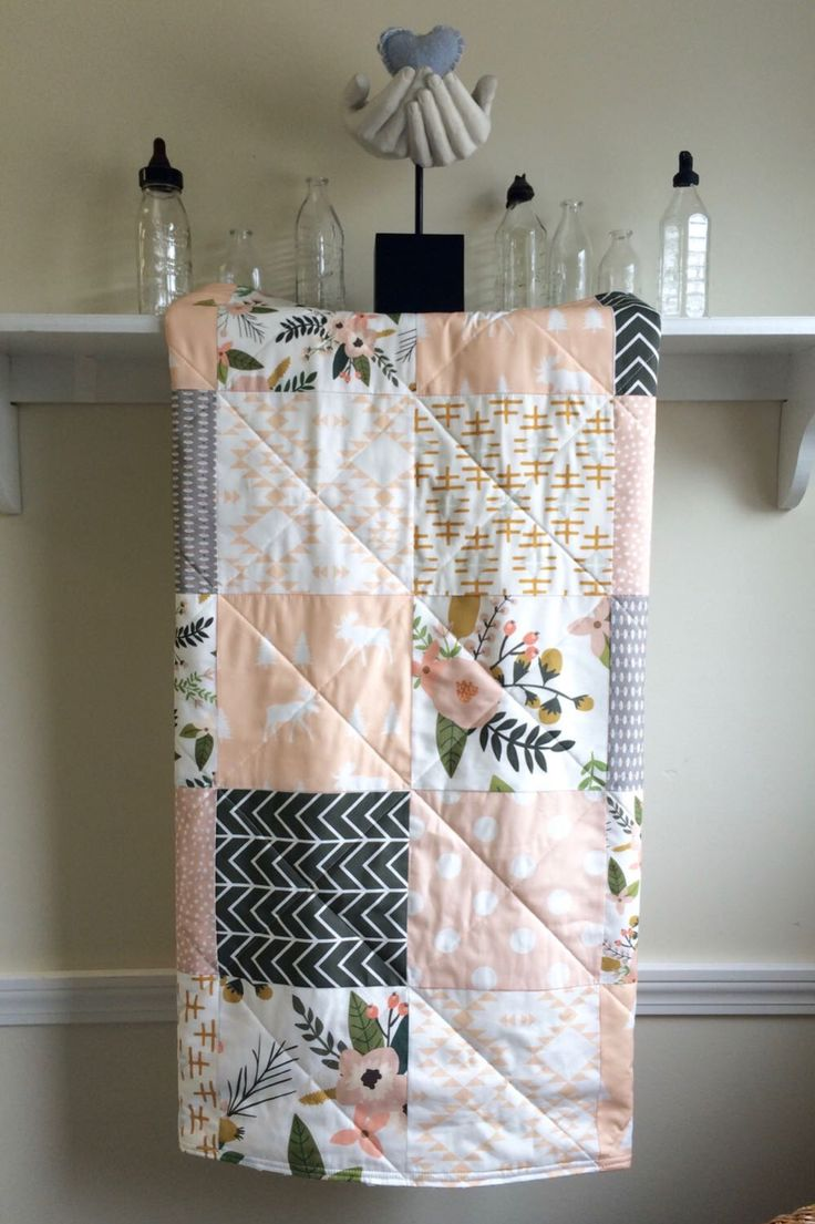 Baby Girl Quilt - Sprigs and Blooms - Modern Crib Quilt, Pastel, Pink,Peach, Mustard, White, Grey, Moose, Aztec, Floral, Crib Bedding by FernLeslieBaby on Etsy https://www.etsy.com/listing/452048620/baby-girl-quilt-sprigs-and-blooms-modern