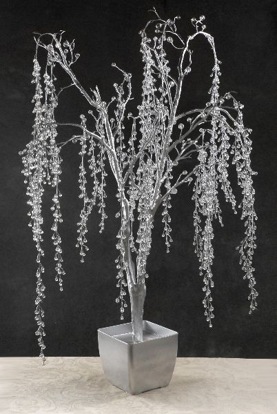 Crystal Trees 3.5 foot Hanging Crystal Vines Silver Wood Pot adorable wishing tree!!! maybe if I put blue and gold ribbon on the wish tags