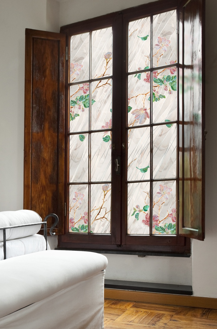 Wild Rose Window Film - It can be trimmed, combined or used vertically or  horizontally to fit any shape or size. The translucent image is ...