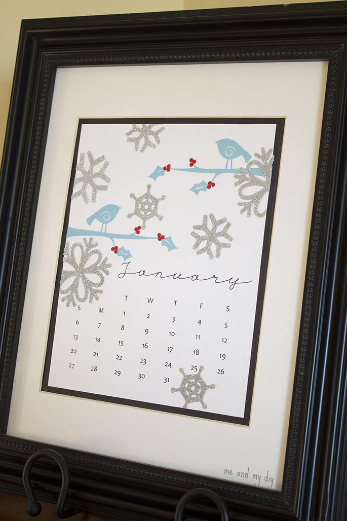 January Calendar and Free Printable at Me and My DIY
