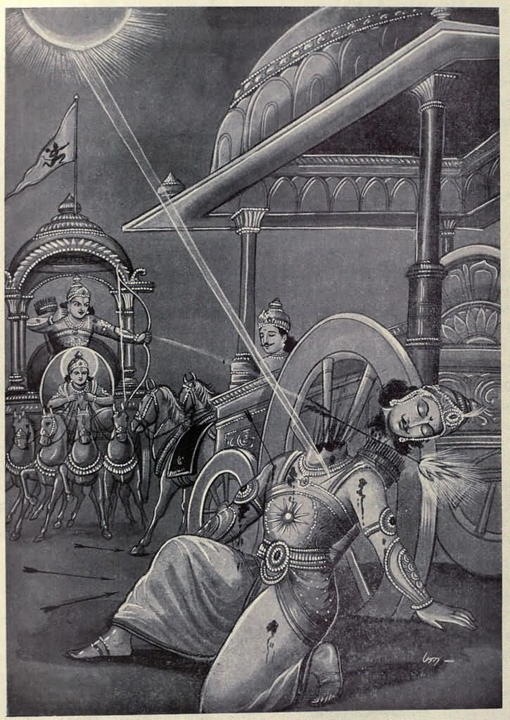 Arjuna Kills Karnahttp://www.findmessages.com/seventeenth-day-of-mahabharata-the-detailed-story-of-karnas-death
