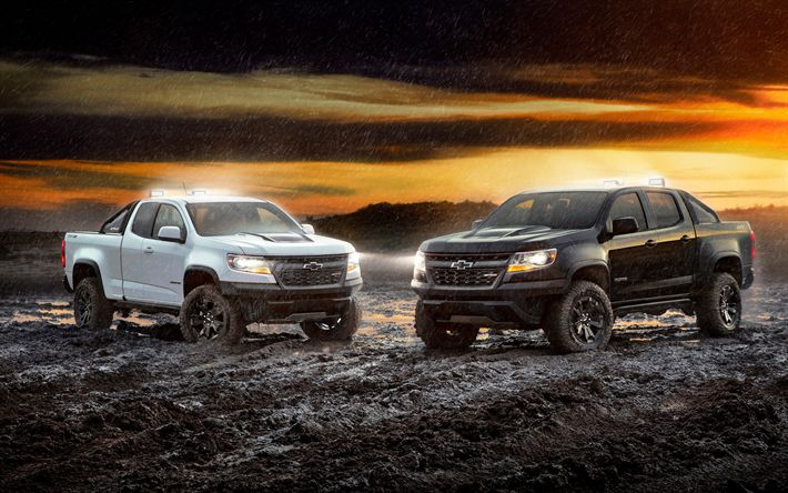 Download wallpapers Chevrolet Colorado ZR2, 2017, Colorado Crew Cab, American pickup truck, 4k, new cars, USA, Chevrolet