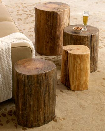 """Horchow -- Wood Block Side Tables. Add a touch of natural rustic to your decor. Natural tree trunk side tables are made of wood reclaimed from telegraph poles. Small table, 12""""-15""""dia. x 18""""h (larger sizes avbl) $139"""