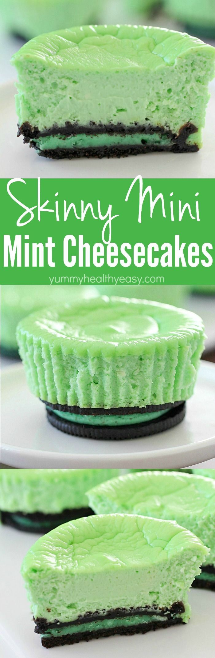 Skinny Mini Mint Cheesecakes with an Oreo crust! This lighter mint cheesecake recipe is super easy to make and you only need a few ingredients to whip up a batch. These cute cheesecakes have less calories than a regular cheesecake plus built-in portion co