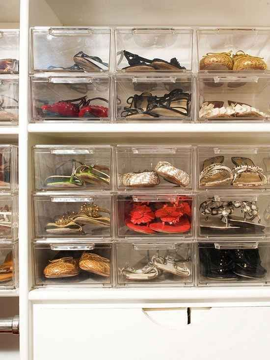 Use clear shoe boxes to store your precious footwear. | 53 Seriously Life-Changing Clothing Organization Tips