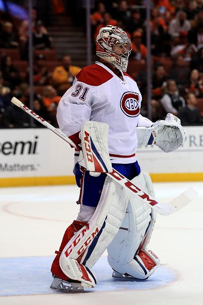 Carey Price of the Montreal Canadiens looks on during the third period of a game against the Anaheim Ducks at Honda Center on November 29 2016 in...