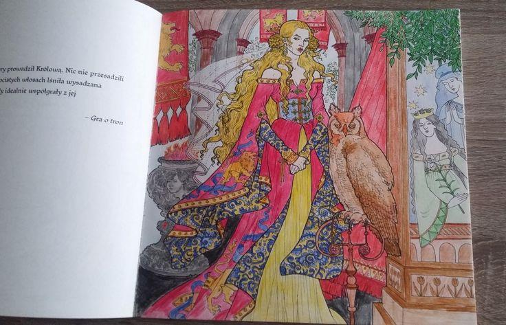 """Portret Cersei z książki do kolorowania """"Gra o tron"""". Przeczytaj na czym polega fenomen popularności kolorowanek dla dorosłych. #kolorowankidladorosłych"""